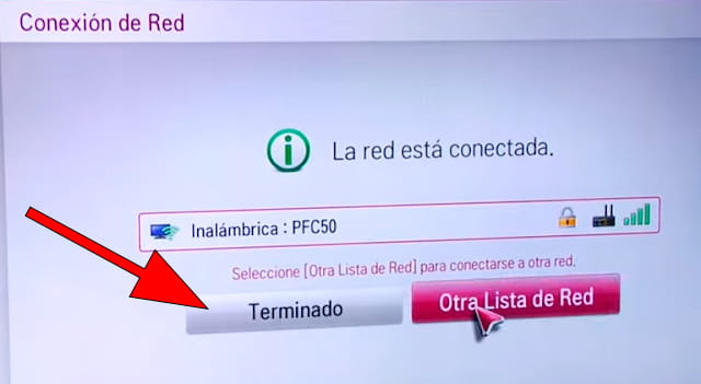 Terminado Conexión Wi-Fi WebOS