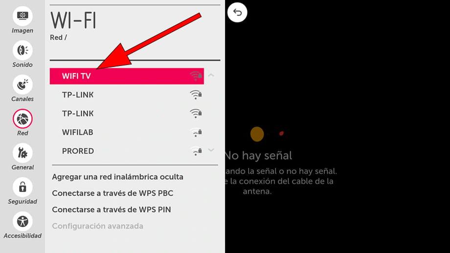Seleccionar Wi-Fi WebOS