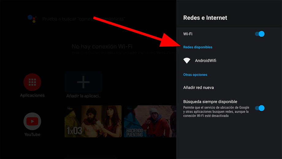 Redes disponibles Android TV