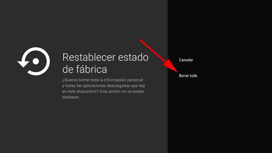 Confirmar Restaurar de fábrica TV Android