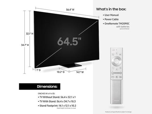 "Samsung Q900TS 165.1 cm (65"") 8K Ultra HD Smart TV Wi-Fi Stainless steel 3"