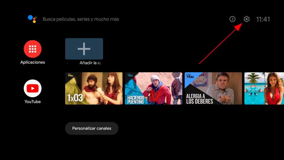 Pantalla inicio Android TV
